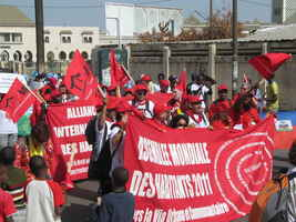 .Hundreds of organizations marched through the streets of Dakar